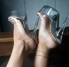 Beautiful and sexy Sexy Legs And Heels, Hot High Heels, High Heels Stilettos, Strappy Heels, Womens High Heels, Stripper Shoes, Beautiful High Heels, Clear Heels, Bare Foot Sandals