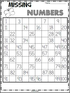 Foglio di lavoro di numeri mancanti di Spring Chart - Madebyteachers Free chart math worksheet for spring. Write the missing numbers on the hundreds chart. As an extension activity, ask the students skip count numbers First Grade Math Worksheets, School Worksheets, 1st Grade Math, Kindergarten Worksheets, Missing Number Worksheets, Kindergarten Counting, Printable Worksheets, Grade 1, Numbers Kindergarten