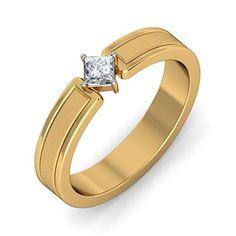 Certified 18K Yellow Gold (HallMarked), 0.145 cttw White Diamond (IJ   SI ) Diamond Engagement Wedding Ring Size – 8.5