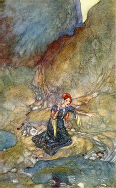 """Miranda, Edmund Dulac, """"No woman's face remember save my own."""" The Tempest III.i."""