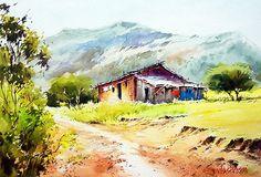 Watercolor Architecture, Watercolor Landscape Paintings, Watercolor Print, Watercolor Illustration, Watercolour Painting, Watercolor Flowers, Watercolors, Summer Landscape, Landscape Art