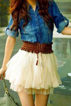 Women's fashion | Denim shirt, boho brown belt and feminine off white tulle skirt