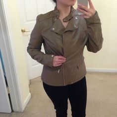 Brown Faux Leather Moto Jacket Brand new with tags. Size L. Selling because it fits me a little large. Jackets & Coats