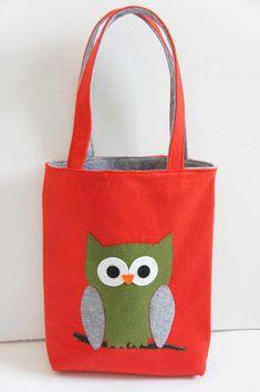 Felt Bag Applique With Owl - Handmade - Shoulder Felt Bag - Shopping Pouch - Gift Idea -Natural