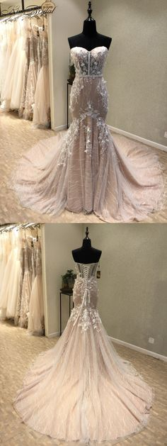 Chic sweetheart wedding gowns with court train, dreamy wedding dresses with appliqués .