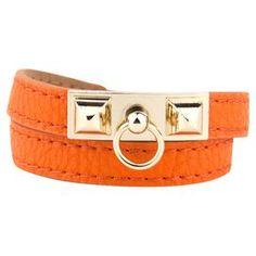 Deco Wrap Leather Bracelet in Orange