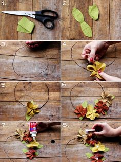 To make a crown: 1-2: First cut leaves using the photos above as your guide. 3. Twist a wire headband that comfortably fits your head. 4. Stitch blooms to the wire. 5. Add leaves behind each bloom. 6. Add 4-8 blooms, until you get the look you want. 7. Apply glue to the center of each bloom. 8. Sprinkle with glitter on the center of each bloom. You're done! Via A Beautiful Mess