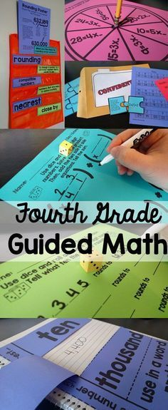 Fourth Grade Guided Math lesson plans, vocabulary, assessments, center activities, and more! Everything you need to implement Guided Math in your fourth grade classroom. Maths Guidés, Math Tutor, Fun Math, Teaching Math, Guided Maths, Math Education, Creative Teaching, Multiplication Songs, Fourth Grade Math