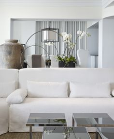White Linen slipcovered sectional by Michael Dawkins