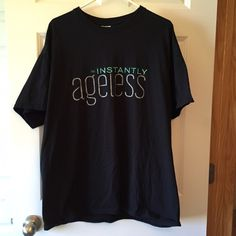 Instantly ageless sparkle t-shirt Instantly ageless T-shirt with sparkle font Tops Tees - Short Sleeve
