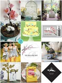 Add cherry blossoms and love birds to a wedding theme for a spring-y feel.