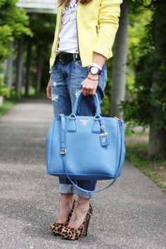 #Blue#Leather#Prada#Bag