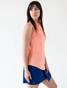 This ladies sleeveless splitneck top is one of the most versatile pieces offered in the Scout Sports line. The Italian fabric is moisture-wicking, lightweight, 4 way stretch, antibacterial, extra soft and UV Protection. Wear this around town or to golf or tennis.