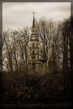 Little abandoned church on an small island in the sea of castle Monrepos near Ludwigsburg, Germany.