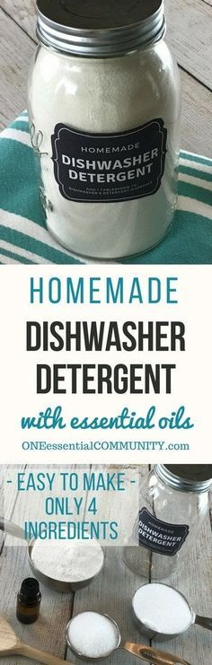 Natural Dishwasher Detergent Easy-to-make natural dishwasher detergent recipe-- for clean, sparkling dishes without using harsh, toxic chemicals. {made with essential oils} DIY essential oil recipe for dishwasher detergent.Easy-to-make natural dishwas. Homemade Dishwasher Detergent, Dishwasher Soap, Natural Laundry Detergent, Washing Detergent, Dish Detergent, Clean Dishwasher, Diy Dishwasher Cleaner, Washing Soda, Homemade Cleaning Supplies