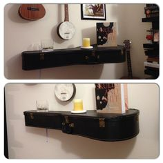 Old guitar case made into a shelf with L brackets, bolts, washers and nuts.