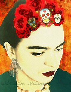 Frida Kahlo Watercolor Art Print Day of the Dead Mixed Media Collage Wall Home Decor Red Roses Skull Skeleton Earrings Orange Yellow Black Diego Rivera, Frida And Diego, Frida Art, Atelier D Art, Kunst Online, Mexican Artists, Art Graphique, Photomontage, Watercolor Print
