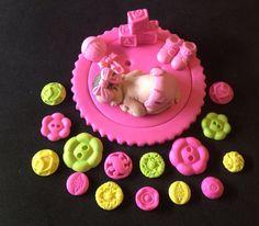 Botones de chica de bebé fondant topper de la torta para