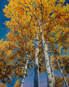 "Aspen Trees, Original Colorado Landscape Fine Art Painting ""True Gold"" by Colorado Artist Nancee Jean Busse Aspen Trees, Busse, Yellow Leaves, Watercolor Print, Landscape Paintings, Colorado, Artsy, Sky, Lemon Yellow"