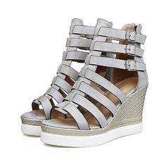 9d5b1136951336 Strappy Grey Gladiator Platform Wedge Sandals - High Street Whistles Platform  Wedge Sandals