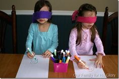 Jesus heals the blindman, try drawing the story with a blindfold to think of what it would be like to be blind