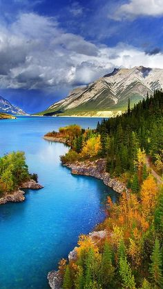 Abraham Lake North Saskatchewan River western Alberta Canada