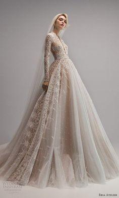 Elegant Wedding Gowns, Gorgeous Wedding Dress, Lace Weddings, Dream Wedding Dresses, Bridal Dresses, Gown Wedding, Wedding Hijab, Ersa Atelier, Lace Wedding Dress With Sleeves