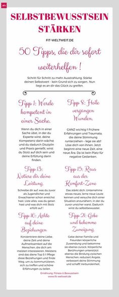Ein starkes Selbstbewusstsein aufbauen: 50 Tipps - Teil 1 (Tipp You want to train your self-confidence and become generally more confident? Gratis Download, Mental Training, Anti Stress, How To Get, How To Plan, Self Confidence, Better Life, Self Improvement, Good To Know