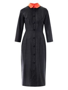 Lander check contrast collar dress