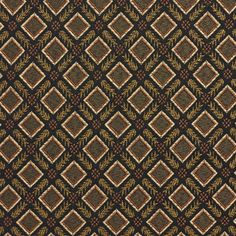E636 Diamond Black, Gold, Green And Orange Damask Upholstery Fabric By The Yard