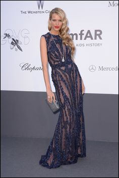 Petra Nemcova wears ELIE SAAB Ready-to-Wear Fall Winter 2013-14 to the amFAR 20th Annual Cinema Against AIDS gala at The 66th Annual Cannes Film Festival.