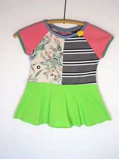 Upcycled OOAK Eco Friendly Girl Size 2 TShirt by TwoSweetMamas, $30.00
