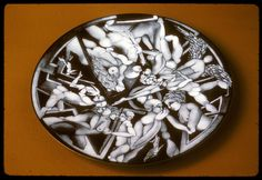 """Archetypal Conversations (1974) by Harold B. Helwig; plate; vitreous enamel, copper, grisaille; 5/16"""" x 9 7/8"""""""