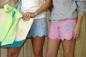 Monogrammed Seersucker Scalloped Pajama Shorts