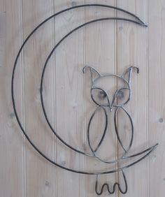 Hibou dans la lune en fer forgé Welding Art Projects, Metal Projects, Metal Crafts, Wire Crafts, Scrap Metal Art, Metal Wall Art, Sculptures Papier, Iron Decor, Steel Art