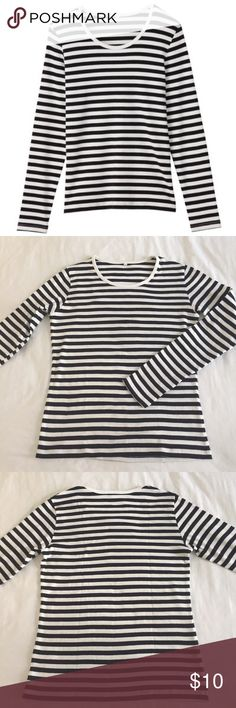 Muji Blue and White Striped Breton Tshirt Really soft and cute long sleeved striped tee from Muji. Worn only a couple of times and in excellent condition, no signs of wear. Help me, I'm drowning in striped tops! Muji Tops Tees - Long Sleeve