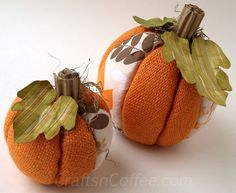 Easy, no-sew burlap pumpkins using Styrofoam balls for your fall decorating