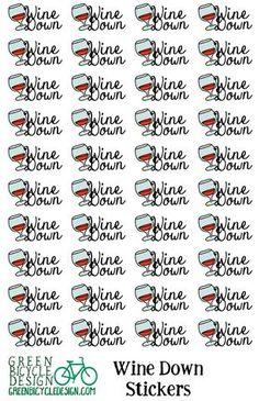 "Wine Glass ""Wine Down"" Planner Stickers"