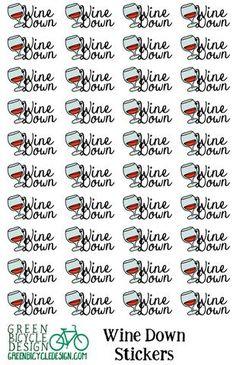 "Wine Glass ""Wine Down"" Planner Stickers"