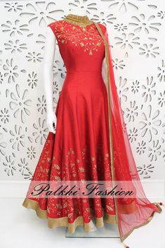 PalkhiFashion Exclusive Full Flair Red Elegant Silk Hand Work Outfit.