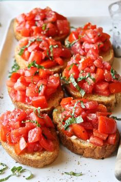 I am kind of obsessed with bruschetta. Aaaand by kind of obsessed I mean one hundred percent obsessed. Obviously. Which is really very strange because I don't like tomatoes. I don't des…