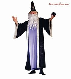 Deluxe Wizard Costume Plus Size Costume at Costumes4Less.com  sc 1 st  Pinterest & 2013 New Dark Sorcerer Mens Gothic Medieval Priest Evil Wizard Robe ...