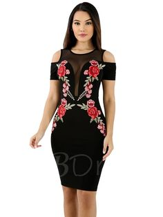 TBDress - TBDress Embroidery Cold Shoulder Womens Sheath Dress - AdoreWe.com