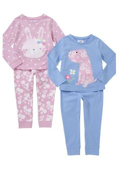Tesco 2 Pack of Bunny and Puppy Pyjamas Puppies In Pajamas, Kids Pajamas, Pajamas Women, Toddler Girl Outfits, Kids Outfits, Girls Pjs, Night Suit, Kids Fashion, Fashion Outfits