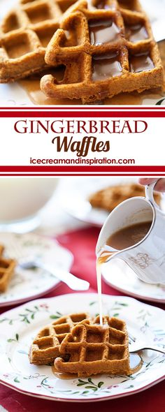 These Gingerbread Waffles with Cinnamon Cream Syrup will have you begging for more! Full of pumpkin, molasses, and cinnamon, they are the perfect holiday breakfast!
