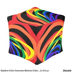 #RainbowCrescents Color Crescents Abstract Cube Pouf @bebopsplace