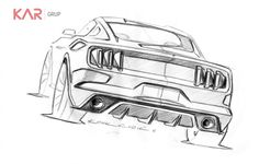 Ford Mustang Design Sketch by Kemal Curic - Car Body Design Mustang Tattoo, Mustang Drawing, Bike Sketch, Car Sketch, Cool Car Drawings, Art Drawings, Desenhos League Of Legends, Family Car Decals, Mustang Cars