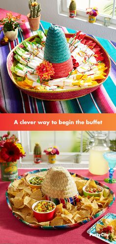 Indoors or out, this idea keeps your cutlery neatly displayed with style. Create these sweet little packets in green, yellow and red by layering colorful and white napkins and tying them off with curl Mexican Birthday Parties, Mexican Fiesta Party, Fiesta Theme Party, Party Themes, Fiesta Party Centerpieces, 40th Party Ideas, Bar Mexicano, Taco Bar, Mexican Hat