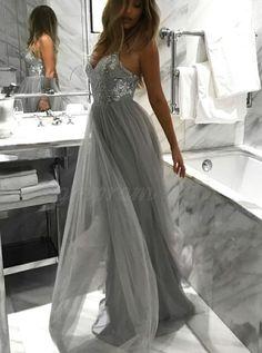 A-Line V-neck Floor-Length Light Grey Prom Dress with Sequins. Vestidos  Increíbles ... 491b844ab6b8