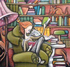 Um pedacinho de paraíso    http://images.fineartamerica.com/images-medium-large/i-love-books-annika-hiltunen.jpg
